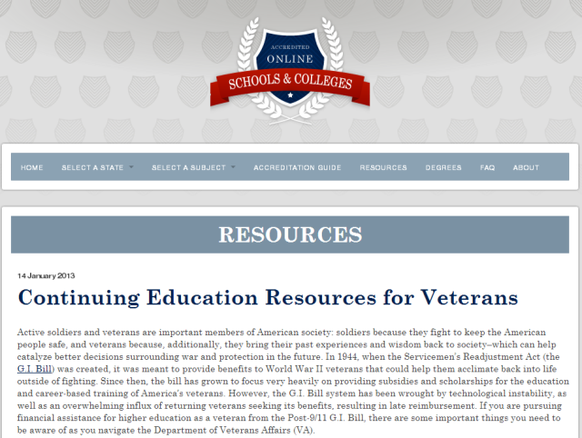 Continuing Education Resources for Veterans